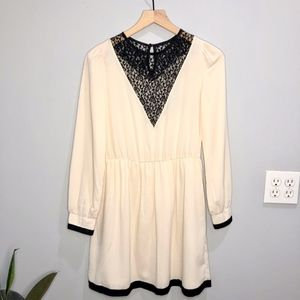 ASOS Cream Long sleeve Dress with Black Lace